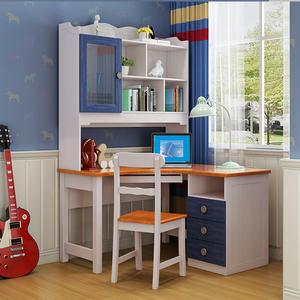 全实木电脑桌直角书桌书架组合美式乡村儿童转角写字台办公桌1.2m图片