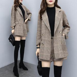 小西裝毛呢短褲套裝女2020春季新款女裝韓版洋氣寬松格子兩件套褲