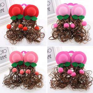 儿童假发女孩樱桃帽子可爱小孩女宝宝长发女童短卷发公主假发包邮