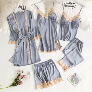 睡衣五件套女春夏性感冰絲韓版吊帶睡裙睡袍套裝帶胸墊絲綢家居服