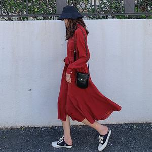 紅色連衣裙復古赫本風2020春夏新款法式長裙及踝復古長袖顯瘦裙子