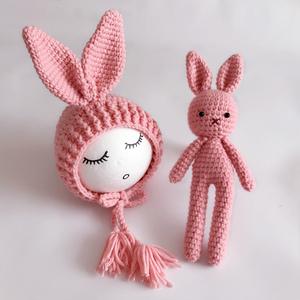 新生儿拍照兔子造型帽 毛线编织婴儿帽子儿童摄影小兔