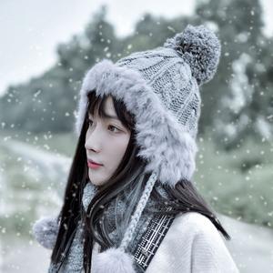 毛线帽女秋冬天雷锋帽子保暖韩版甜美可爱冬季护耳网红款潮针织帽