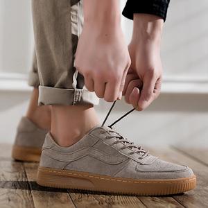 春夏款式大学生板鞋翻毛皮休闲鞋校园复古风格?#20449;?#20180;裤配鞋暗棕色