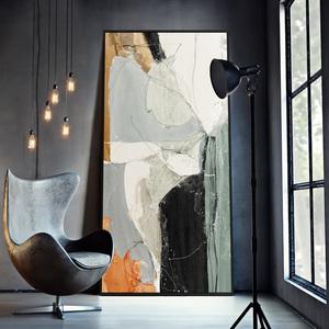 沉淀思維 現代簡約抽象裝飾畫藝術 玄關掛畫豎版超大巨幅壁畫落地