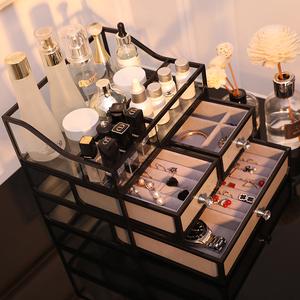 玻璃化妝品收納盒網紅口紅格收納桌面耳環耳釘飾品托盤首飾收納盒