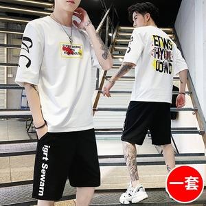 2019夏季短袖丅恤套装男士韩版国潮牌搭配帅气一套衣服短裤两件套