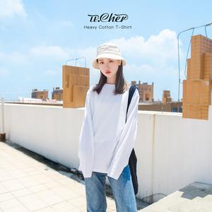 纯白色长袖t恤女打底衫衣纯棉韩版宽松卫衣内搭上衣纯色秋冬秋衣