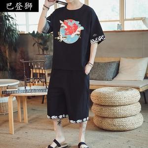 亞麻休閑西服套裝男潮流韓版帥氣社會個性中國風仙鶴印花薄款盤扣