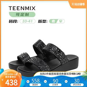 [定制大小碼胖瘦腳]天美意2020夏性感水鉆坡跟女涼鞋6Z940BT0C