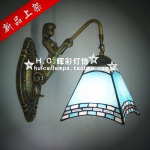欧式蒂凡尼美人鱼壁灯蓝色地中海镜前灯卧室床头蓝色工艺壁灯