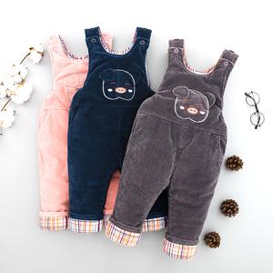 宝宝背带棉裤冬季加绒加厚保暖女小童加棉裤一岁男童婴儿开档特厚