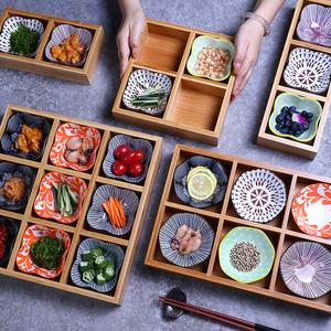 竹木創意火鍋店餐具餐盤分格特色火鍋蔬菜托盤烤肉九宮格盤子拼盤