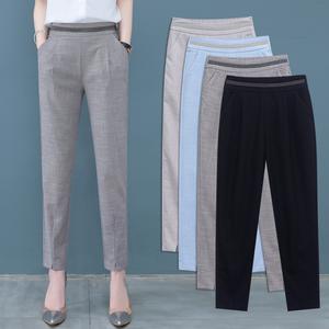 九分哈倫褲女夏季2020新款棉麻女褲顯瘦百搭薄款褲子寬松休閑西褲