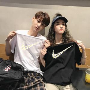 2020新款韓版情侶裝夏裝純棉寬松情侶短袖t恤ins夏潮F小眾設計感