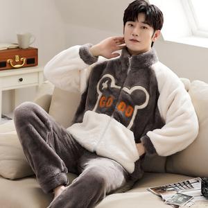珊瑚絨睡衣男士秋冬款加絨加厚青少年加大碼法蘭絨家居服套裝冬季
