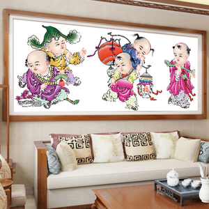 2019新款鉆石畫5D半鉆鉆石繡五子送福客廳娃娃貼鉆石十字繡磚石秀