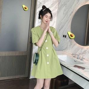 香港连衣裙夏新款仙女收腰显瘦小个子气质牛油果绿2019年流行裙子