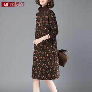 加厚加棉連衣裙女秋冬季2019新款裙子中長款45歲夾棉不加絨打底裙