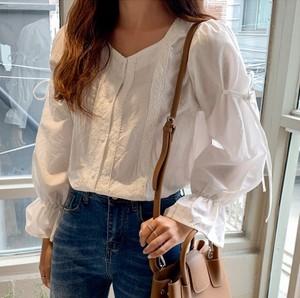 韓國官網代購19秋michyeora少女清新甜美時尚蕾絲系帶百搭襯衫