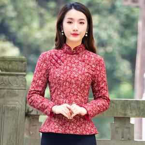 筠雅冬季中式唐装上衣改良旗袍盘扣红棉袄夹棉加厚保暖中国风女装
