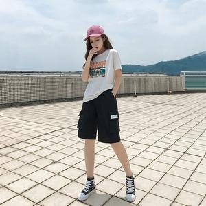 工装短裤女夏2019新款宽松休闲中裤韩版高腰直筒港味bf运动五分裤