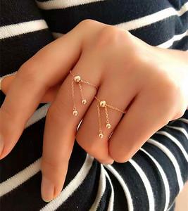 18K金 AU750 玫瑰金 软戒指 女款转运珠可调节链戒指环 尾戒