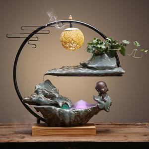 創意流水噴泉景觀招財風水客廳辦公室玄關新中式擺件喬遷開業送禮