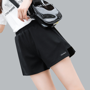 运动短裤女宽松夏季学生大码黑色高腰显瘦阔腿休闲百搭A字跑步裤