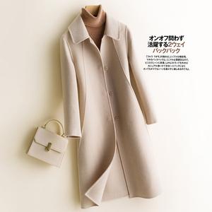 反季清仓纯羊毛呢纯色外套双面呢大衣女中长款羊绒西装领呢子