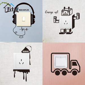 手绘开关贴墙贴插座贴创意耳机卡车墙纸贴画可爱卡通冰箱贴装饰贴图片