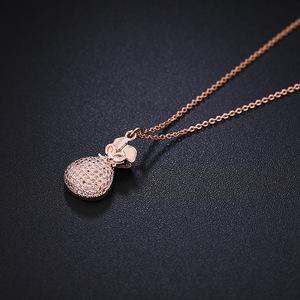 新款创意钱袋子锁骨链女玫瑰金微镶锆石如意福袋项链吊坠