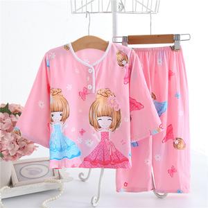 女宝宝睡衣夏季1-3岁女童薄款棉绸2空调服4儿童春秋季家居服套装5