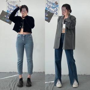 开衩牛仔裤女腿粗显瘦春夏大码胖妹妹mm裤子高腰直筒裤开叉阔腿裤