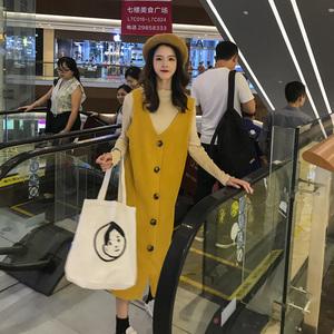 欧洲站2019秋冬新款潮流气质中长款连衣裙两件套装减龄时尚休闲女