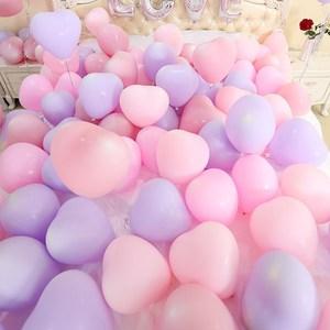 白色店庆心形气球结婚用婚礼婚房粉紫色现场布置粉红色温馨婚宴