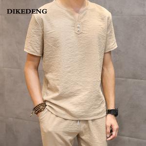 夏季亚麻套装男V领短袖t恤冰丝薄款潮流男士中国风短裤棉麻两件套