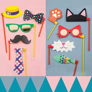 生日 聚会 派对婚礼假面舞会趣味胡子拍照道具可爱搞怪纸面具
