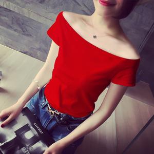 香港潮牌一字肩2020夏季新款短袖t恤女修身時尚露領純棉體恤上衣