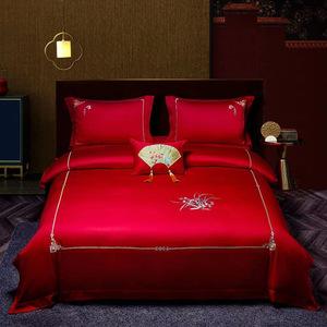 羅蘭家紡100支全棉結婚用床上用品大紅色四件套純棉婚慶簡約刺繡