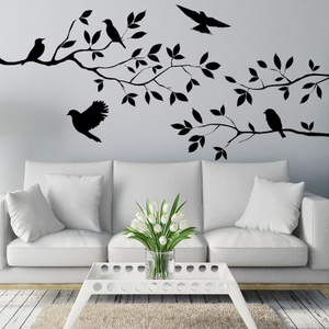 Nice Arts Home Decor Wallpapers Flying Birds Tree Wall Stick