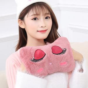 彩红毛绒热水袋暖手宝充电暖器电热宝电暖宝安全防爆大小号电热饼