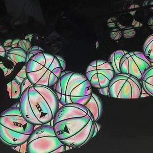 定制室内外运动发光篮球抖音同款夜光?#20449;?#30007;生亮光印字荧光刻字