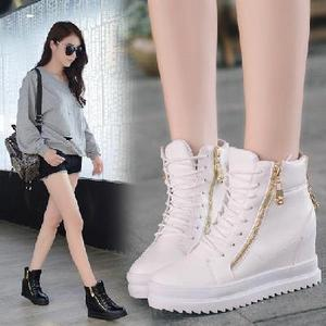 Women pu leather wedge boot 高帮内增高厚底松糕白鞋秋冬靴女鞋
