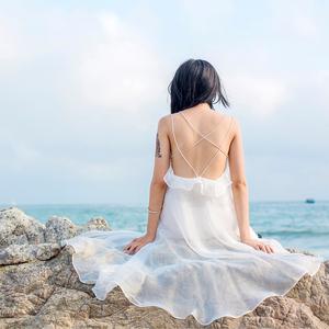 奈良露背巴厘島沙灘裙女夏天中長款小個子連衣裙海邊度假顯瘦吊帶