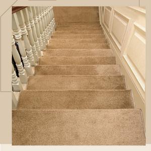 現代室內實木樓梯踏步墊家用免膠自粘地毯米黃色滿鋪墊子防滑地墊