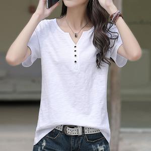 白色T恤女短袖夏裝新款韓版寬松大碼百搭紐扣V領竹節棉半袖體恤潮