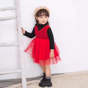 韩都果果女童装冬款新品套装韩版小童女宝宝加绒T恤背心裙两件套