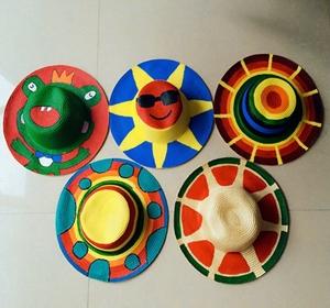 表演装饰道具儿童diy手工绘画草帽幼儿园美术材料亲子涂鸦绘画帽