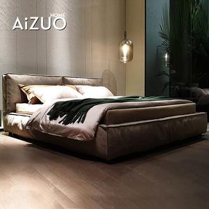 免洗科技布床現代簡約輕奢結婚床雙人軟包布藝床2米2.2米主臥大床
